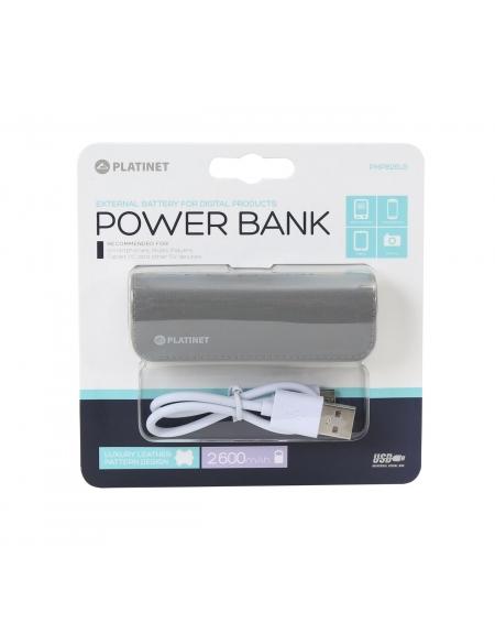 PLATINET POWER BANK ΔΕΡΜΑΤΙΝΟ 2600mAh  ΓΚΡΙ + καλώδιο microUSB [43406]