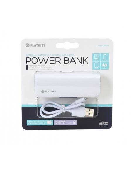 PLATINET POWER BANK ΔΕΡΜΑΤΙΝΟ 2600mAh  ΛΕΥΚΟ + καλώδιο microUSB [43407]