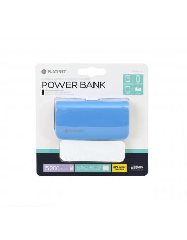 PLATINET POWER BANK ΔΕΡΜΑΤΙΝΟ 5200mAh  ΜΠΛΕ + καλώδιο microUSB [43409]