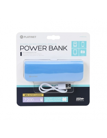 PLATINET POWER BANK ΔΕΡΜΑΤΙΝΟ 7200mAh  ΜΠΛΕ + καλώδιο microUSB [43413]
