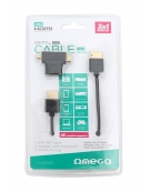 OMEGA ΚΑΛΩΔΙΟ HDMI V.1.4 ΜΑΥΡΟ + ADAPTOR TO miniHDMI & microHDMI 1,8M BLISTER [42282]