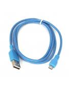 ΥΦΑΣΜΑΤΙΝΟ MICRO USB TO USB ΚΑΛΩΔΙΟ 1M ANOIXTO ΜΠΛΕ