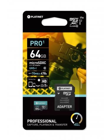 PLATINET microSDXC SECURE DIGITAL + ADAPTER SD 64GB class10 UI 70MB/s [43998]
