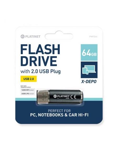 PLATINET PENDRIVE USB 2.0 X-Depo 64GB BLACK [42117]