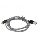 PLATINET USB LIGHTNING FABRIC BRAIDED CABLE 1M BLACK