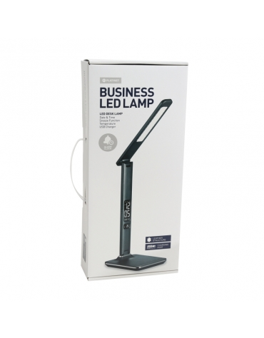 14W LED PLATINET OFFICE LAMP WITH LCD SCREEN DISPLAYING TIME AND TEMPERATURE + USB CHARGER - BLACK