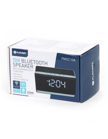 PLATINET SPEAKERS PMGC10A BLUETOOTH + CLOCK, FM 10W STEREO [43975]