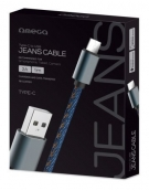 OMEGA JEANS TYPE-C TO USB 2A 118 COPPER 1M BLUE [44204]