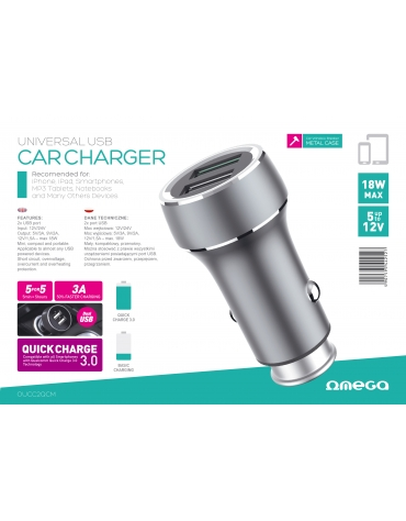 OMEGA CAR CHARGER METAL 2xUSB Quick Charge 3.0 18W [44252]