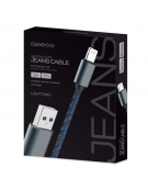 OMEGA JEANS LIGHTNING TO USB 2A 118 COPPER 1M BLUE [44202]
