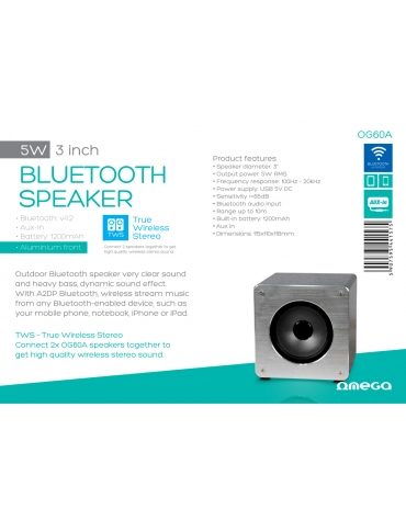 """OMEGA SPEAKER OG60W ALUMINIUM 3"""" 5W BLUETOOTH V4.2 TWS SYSTEM [44157]"""