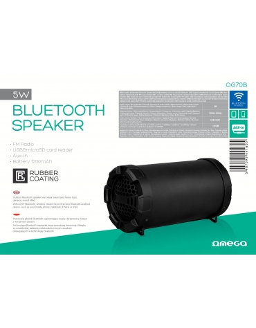 "OMEGA SPEAKER / GŁOŚNIK OG70 BAZOOKA 3,5"" 5W BLUETOOTH V2.1 BLACK RUBBER [44160]"