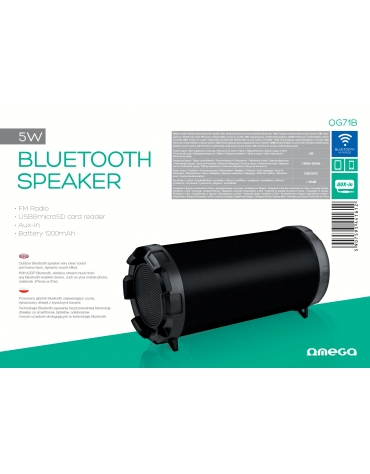 "OMEGA SPEAKER OG71 BAZOOKA 3,5"" 5W BLUETOOTH V2.1 BLACK [44161]"