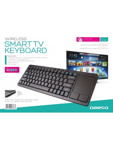KEYBOARD WIRELESS US OMEGA FOR SMART TV BLACK + TOUCHPAD [43666]