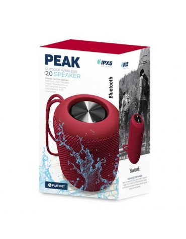 PLATINET SPEAKER PMG13 PEAK BLUETOOTH 4.2 10W STEREO IPX5 RED [44489]