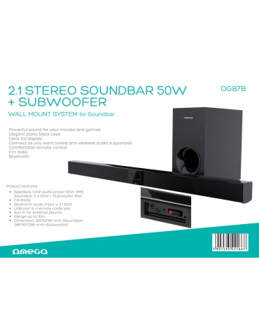 OMEGA SPEAKER OG87 SOUND BAR + SUBWOOFER 40W BLUETOOTH V2.1 BLACK [44166]