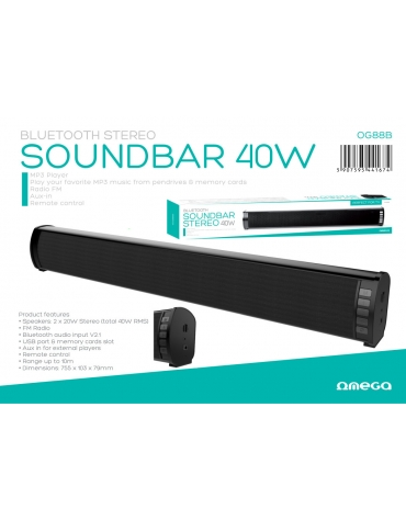 OMEGA SPEAKER OG88 SOUNDBAR 40W STEREO BLUETOOTH V2.1 BLACK