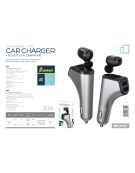 PLATINET CAR CHARGER 2xUSB 3,1 A + BLUETOOTH EARPHONE [PLCRBT2]