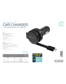 PLATINET CAR CHARGER ROLLING CABLE 3.4A Micro USB [44650]