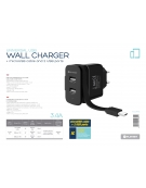 PLATINET WALL CHARGER 2xUSB + ROLLING CABLE Micro USB 3.4A [44653]
