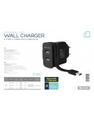 PLATINET WALL CHARGER 2xUSB + ROLLING CABLE Type-C 3.4A [44654]