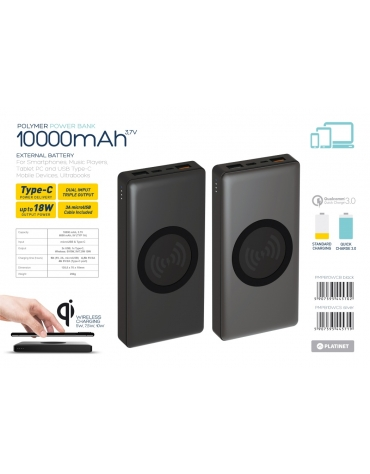 PLATINET POWER BANK 10000mAh polymer DUAL INPUT WIRELESS CHARGING QI BLACK