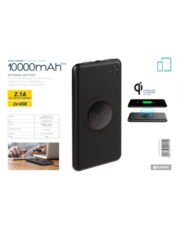 PLATINET POWER BANK 10000 mAh polymer WIRELESS CHARGING
