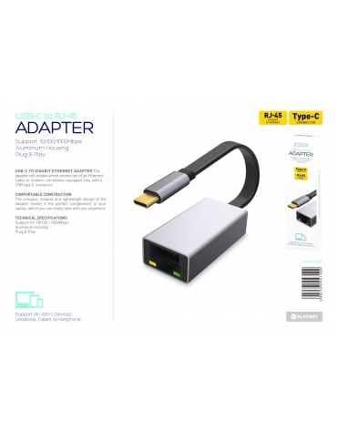 PLATINET MULTIMEDIA ADAPTER TYPE C to RJ45 1000 Mbps