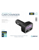 PLATINET CAR CHARGER 2xUSB 2.4A Voltage & Temperature LCD