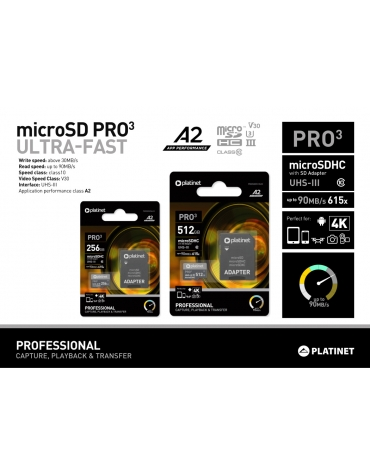 PLATINET microSDXC  SECURE DIGITAL + ADAPTER SD 256GB class10 UIII A2