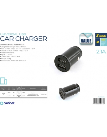 PLATINET CAR CHARGER 2xUSB 2.1A BLACK