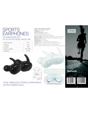FREESTYLE BLUETOOTH V5.0 EARPHONES SPORT + CHARGING STATION FS1083 BLACK