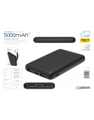 PLATINET POWER BANK 5000 mAh DUAL INPUT 5.0V 1A&2.1A POLYMER PORTABLE BLACK + microUSB cable