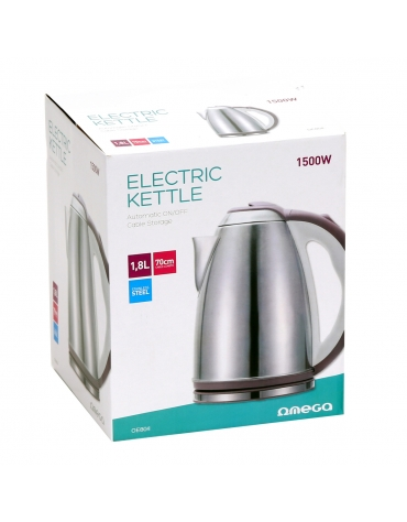 OMEGA ELECTRIC KETTLE 1500W STAINLESS STEEL BRUSHED FINISH WHITE/BEIGE