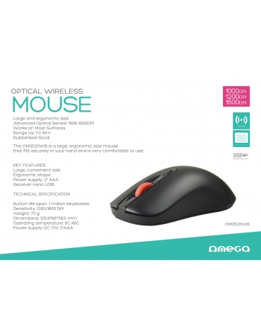MOUSE OMEGA OM-520 1000-1200-1600DPI FULL SIZE WIRELESS BLACK