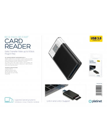PLATINET CARD READER FAST! 2 SLOTS  MICRO SD/TF SD 4.0 UHSII USB 3.0