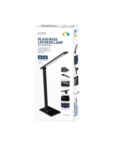 PLATINET SPECIAL LED DESK LAMP 6W RGB GLASS BASE ΜΑΥΡΟ