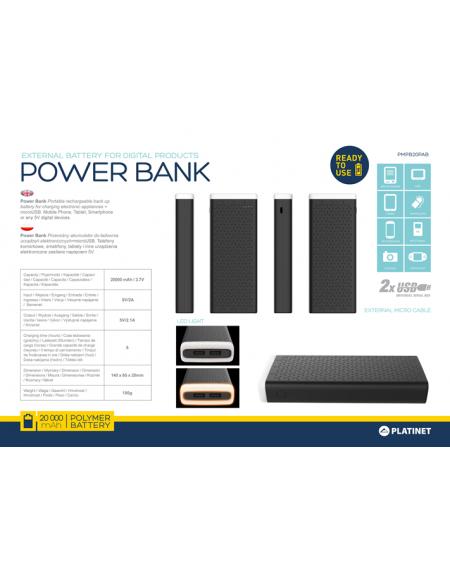 PLATINET POWER BANK 20000mAh 2,1A polymer USB + AMBIENT LIGHTING BLACK