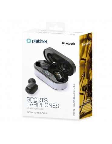PLATINET PM1050 VIBE BLUETOOTH V5.0 TWS EARPHONES SPORT + LED CHARGING STATION BLACK