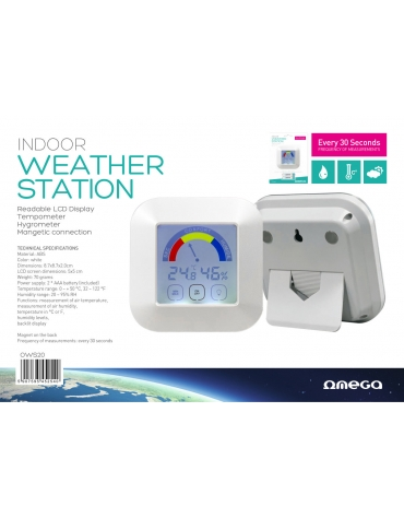 OMEGA WEATHER STATION INDOOR TEMPERATURE HYGROMETER LCD MAGNET ON BACK BLACK
