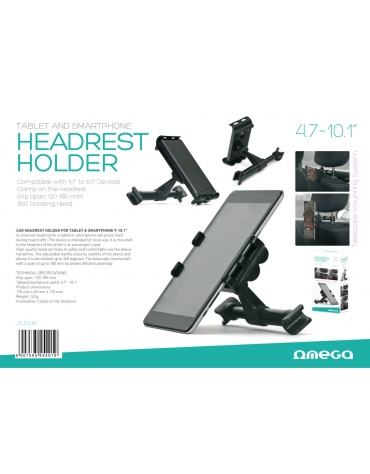 "CAR HEADREST HOLDER FOR TABLET & SMARTPHONE 4,7-10.1"" BLACK"