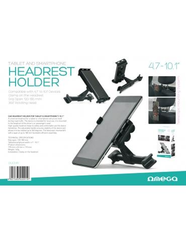 """CAR HEADREST HOLDER FOR TABLET & SMARTPHONE 4,7-10.1"""" BLACK"""