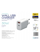 PLATINET WALL CHARGER 30W TYPE C PD3.0+USB2.4A