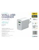 PLATINET WALL CHARGER 45W TYPE C PD3.0+USB2.4A