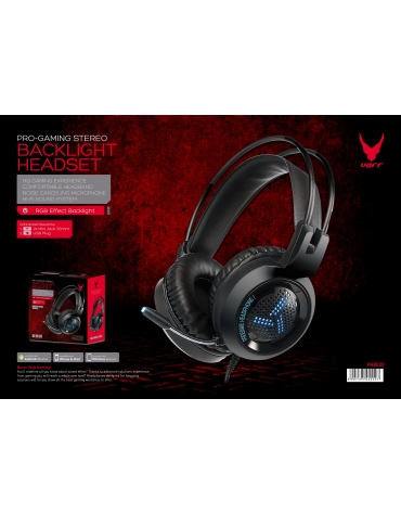 VARR GAMING COLORFUL BREATHING HEADSET USB 2X 3.5  VH8020 BLACK