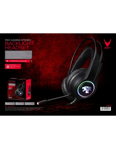 VARR GAMING RGB HEADSET USB 2X3.5 MIC VH8030 BLACK