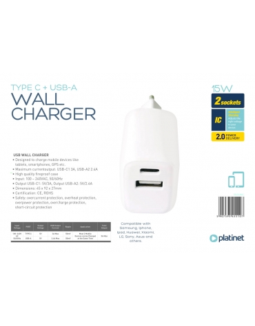PLATINET WALL CHARGER 15W TYPE C + USB-A