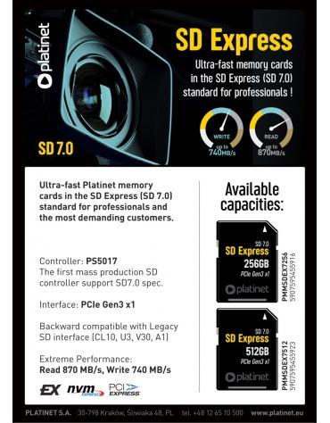 PLATINET SD Express Card 7.0 PCIe interface Gen3 x1 256gb
