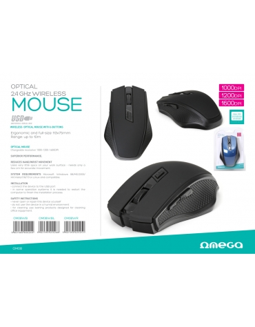 OMEGA OM-08W WIRELESS 2.4 GHz 1000/1200 / 1600DPI wireless computer mouse.