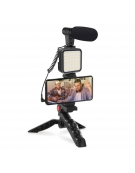 PMVG4IN1 PLATINET VLOG 4 IN 1 SET  MICROPHONE  LIGHT PHONE HOLDER ON A TRIPOD) + 3,5 JACK TO USB C ADAPTER